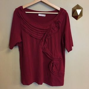 Pilcro Anthropologie Red Ruffle Tee Top Size XL